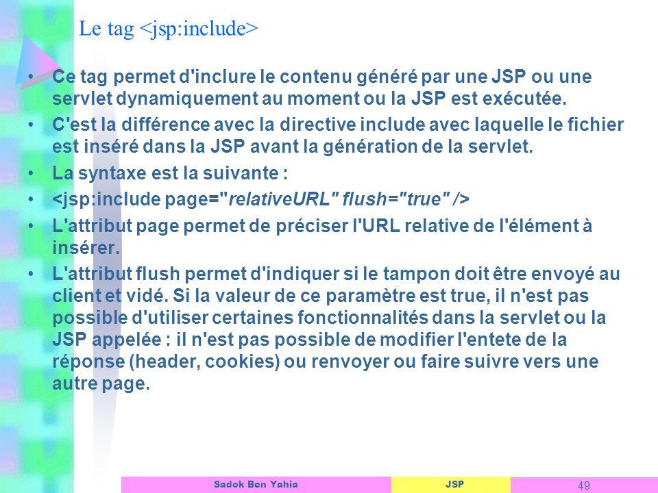JSP 49 Sadok Ben Yahia Le tag Ce tag permet d inclure le contenu généré par une JSP ou une servlet dynamiquement au moment ou la JSP est exécutée.