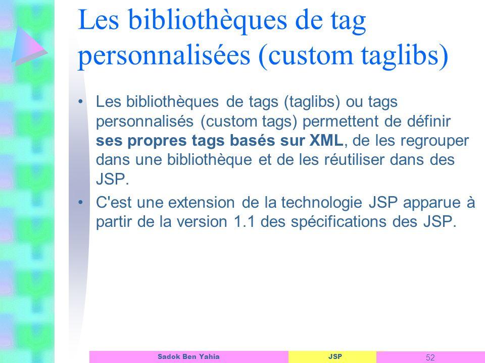 JSP 52 Sadok Ben Yahia Les bibliothèques de tag personnalisées (custom taglibs) Les bibliothèques de tags (taglibs) ou tags personnalisés (custom tags) permettent de définir ses propres tags basés sur XML, de les regrouper dans une bibliothèque et de les réutiliser dans des JSP.