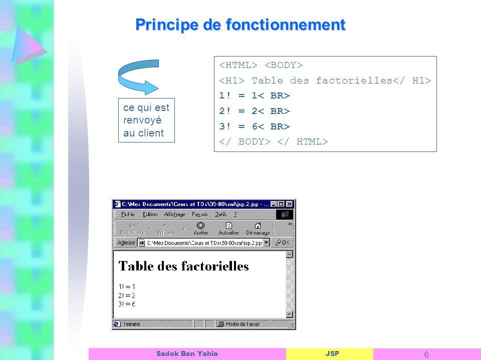 JSP 27 Sadok Ben Yahia Exemple 1: Programme JSP appelé QuiFaitQuoi_if.jsp : Formulaire avec bouton radio, Manipulation de la structure Java if-else.