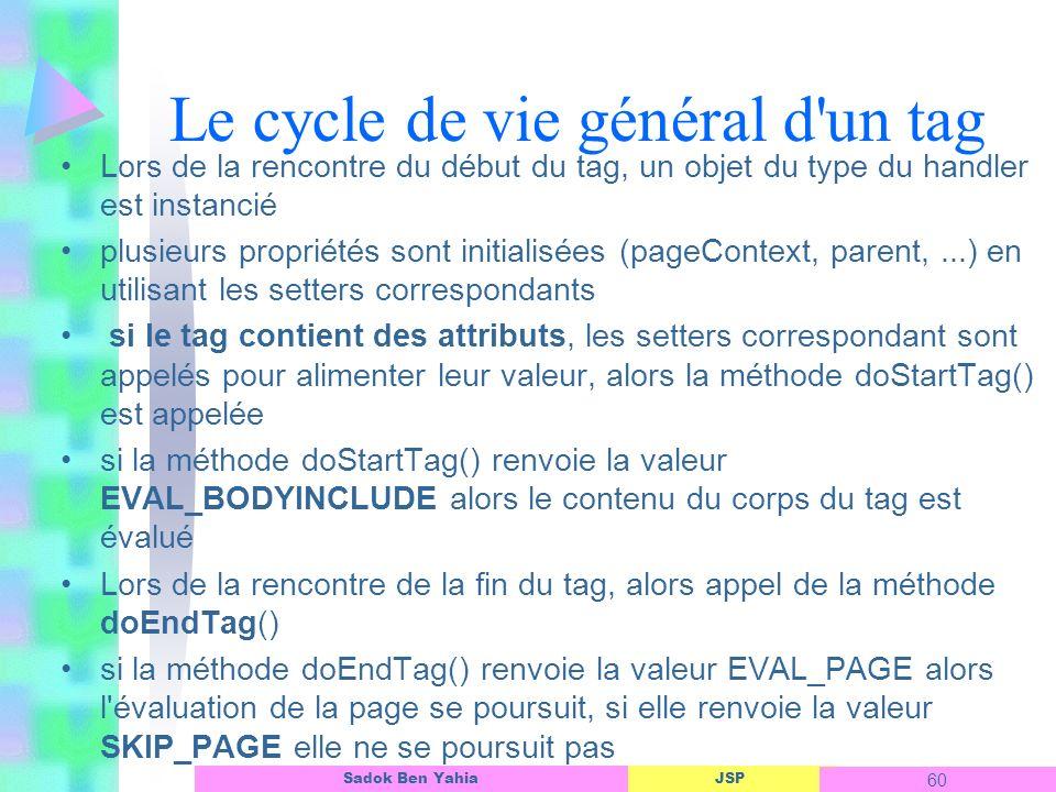 JSP 60 Sadok Ben Yahia Le cycle de vie général d un tag Lors de la rencontre du début du tag, un objet du type du handler est instancié plusieurs propriétés sont initialisées (pageContext, parent,...) en utilisant les setters correspondants si le tag contient des attributs, les setters correspondant sont appelés pour alimenter leur valeur, alors la méthode doStartTag() est appelée si la méthode doStartTag() renvoie la valeur EVAL_BODYINCLUDE alors le contenu du corps du tag est évalué Lors de la rencontre de la fin du tag, alors appel de la méthode doEndTag() si la méthode doEndTag() renvoie la valeur EVAL_PAGE alors l évaluation de la page se poursuit, si elle renvoie la valeur SKIP_PAGE elle ne se poursuit pas