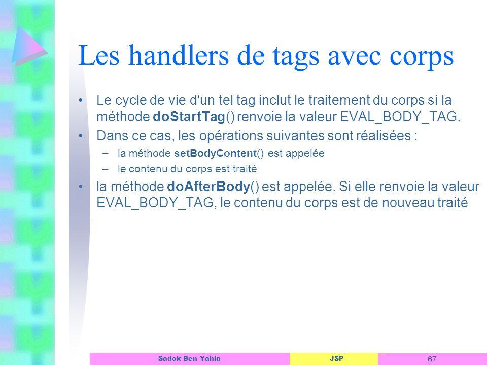 JSP 67 Sadok Ben Yahia Les handlers de tags avec corps Le cycle de vie d un tel tag inclut le traitement du corps si la méthode doStartTag() renvoie la valeur EVAL_BODY_TAG.