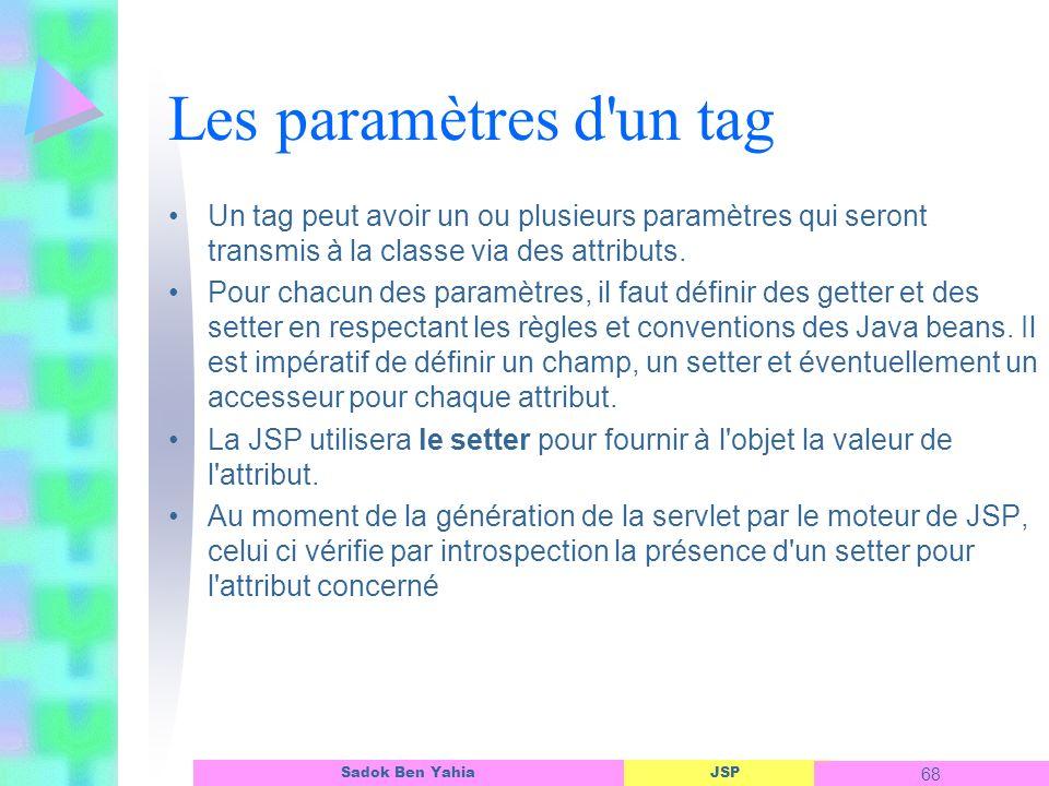 JSP 68 Sadok Ben Yahia Les paramètres d un tag Un tag peut avoir un ou plusieurs paramètres qui seront transmis à la classe via des attributs.