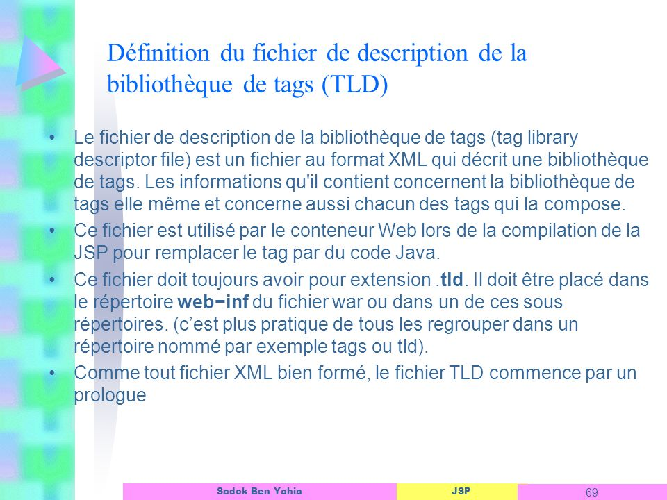 JSP 69 Sadok Ben Yahia Définition du fichier de description de la bibliothèque de tags (TLD) Le fichier de description de la bibliothèque de tags (tag library descriptor file) est un fichier au format XML qui décrit une bibliothèque de tags.