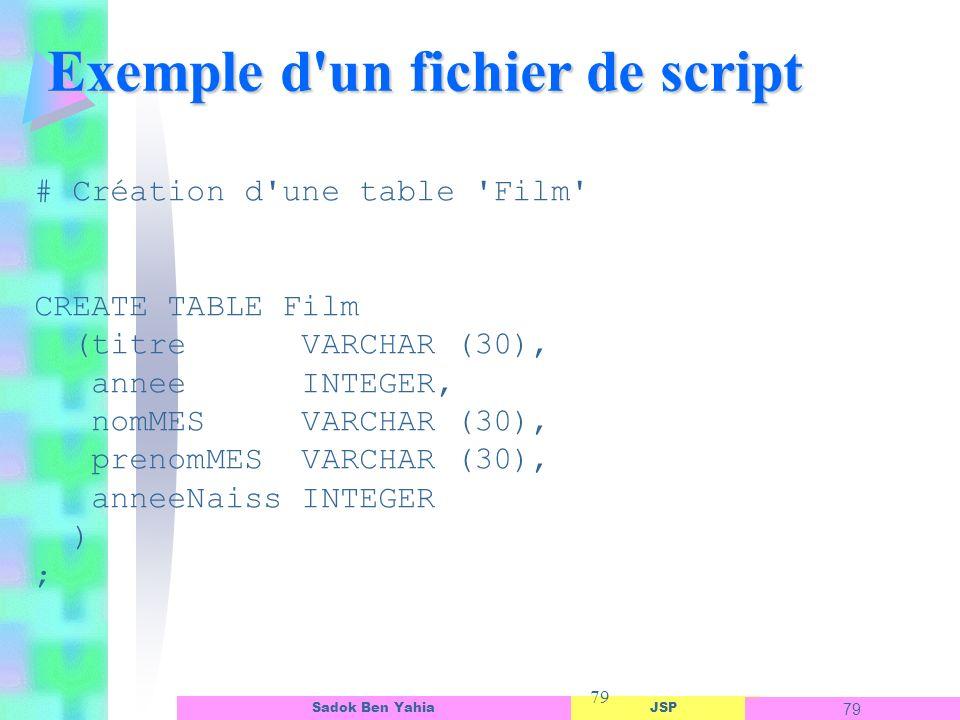 JSP 79 Sadok Ben Yahia 79 Exemple d un fichier de script # Création d une table Film CREATE TABLE Film (titre VARCHAR (30), annee INTEGER, nomMES VARCHAR (30), prenomMES VARCHAR (30), anneeNaiss INTEGER ) ;