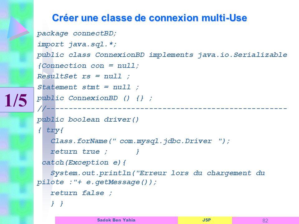 JSP 82 Sadok Ben Yahia Créer une classe de connexion multi-Use Linterface dun objet ASP package connectBD; import java.sql.*; public class ConnexionBD implements java.io.Serializable {Connection con = null; ResultSet rs = null ; Statement stmt = null ; public ConnexionBD () {} ; //------------------------------------------------------ public boolean driver() { try{ Class.forName( com.mysql.jdbc.Driver ); return true ; } catch(Exception e){ System.out.println( Erreur lors du chargement du pilote : + e.getMessage()); return false ; } } 1/5