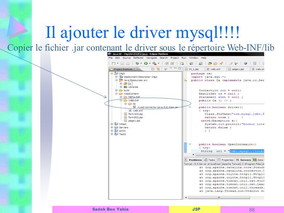 JSP 88 Sadok Ben Yahia Il ajouter le driver mysql!!!.