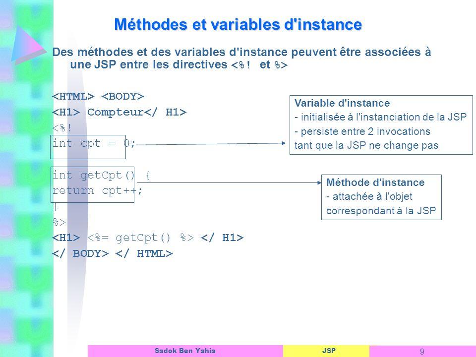 JSP 10 Sadok Ben Yahia JSP variables d instance Attention !.