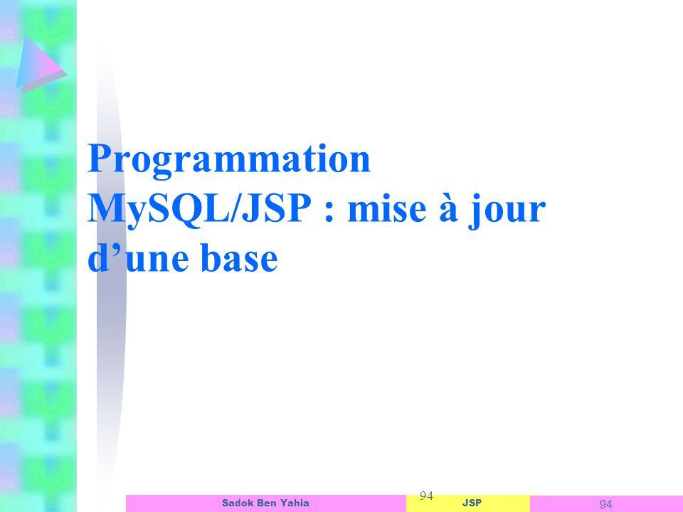 JSP 94 Sadok Ben Yahia 94 Programmation MySQL/JSP : mise à jour dune base