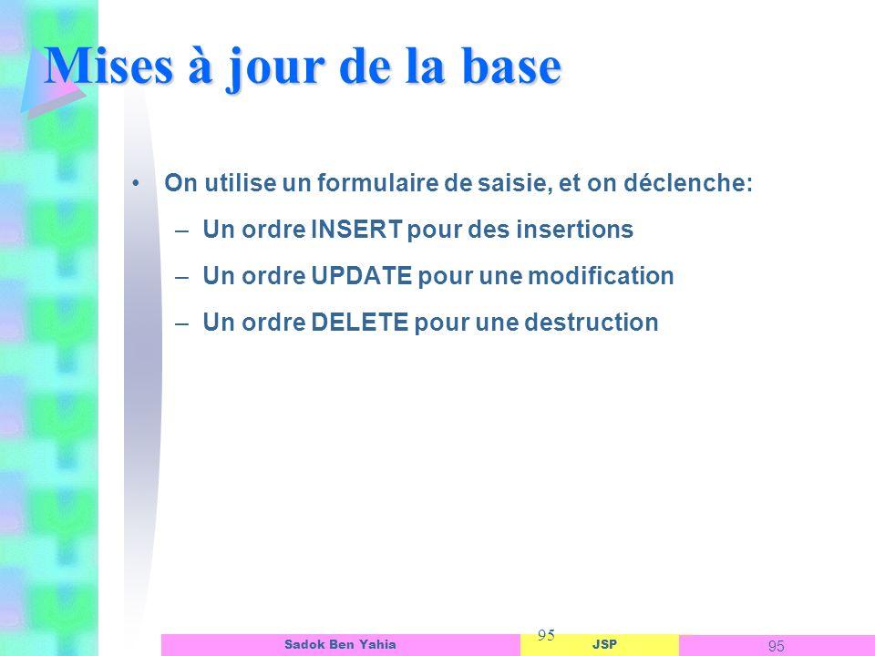 JSP 95 Sadok Ben Yahia 95 Mises à jour de la base On utilise un formulaire de saisie, et on déclenche: –Un ordre INSERT pour des insertions –Un ordre UPDATE pour une modification –Un ordre DELETE pour une destruction