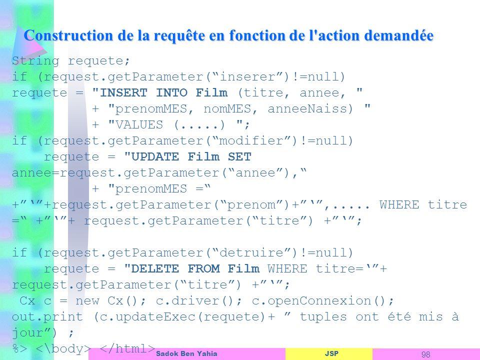 JSP 98 Sadok Ben Yahia Construction de la requête en fonction de l action demandée String requete; if (request.getParameter(inserer)!=null) requete = INSERT INTO Film (titre, annee, + prenomMES, nomMES, anneeNaiss) + VALUES (.....) ; if (request.getParameter(modifier)!=null) requete = UPDATE Film SET annee=request.getParameter(annee), + prenomMES = ++request.getParameter(prenom)+,.....