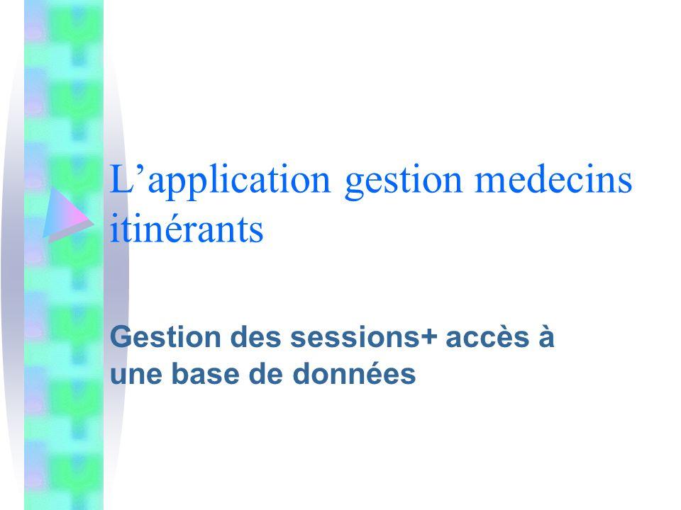 Lapplication gestion medecins itinérants Gestion des sessions+ accès à une base de données