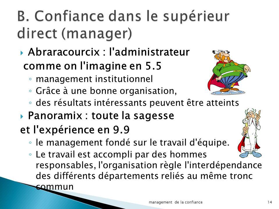 Abraracourcix : l administrateur comme on l imagine en 5.5 management institutionnel Grâce à une bonne organisation, des résultats intéressants peuvent être atteints Panoramix : toute la sagesse et l expérience en 9.9 le management fondé sur le travail d équipe.
