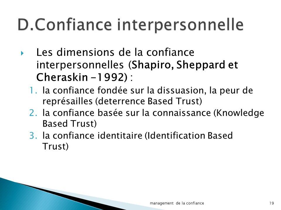 Les dimensions de la confiance interpersonnelles (Shapiro, Sheppard et Cheraskin -1992) : 1.la confiance fondée sur la dissuasion, la peur de représailles (deterrence Based Trust) 2.la confiance basée sur la connaissance (Knowledge Based Trust) 3.la confiance identitaire (Identification Based Trust) 19management de la confiance
