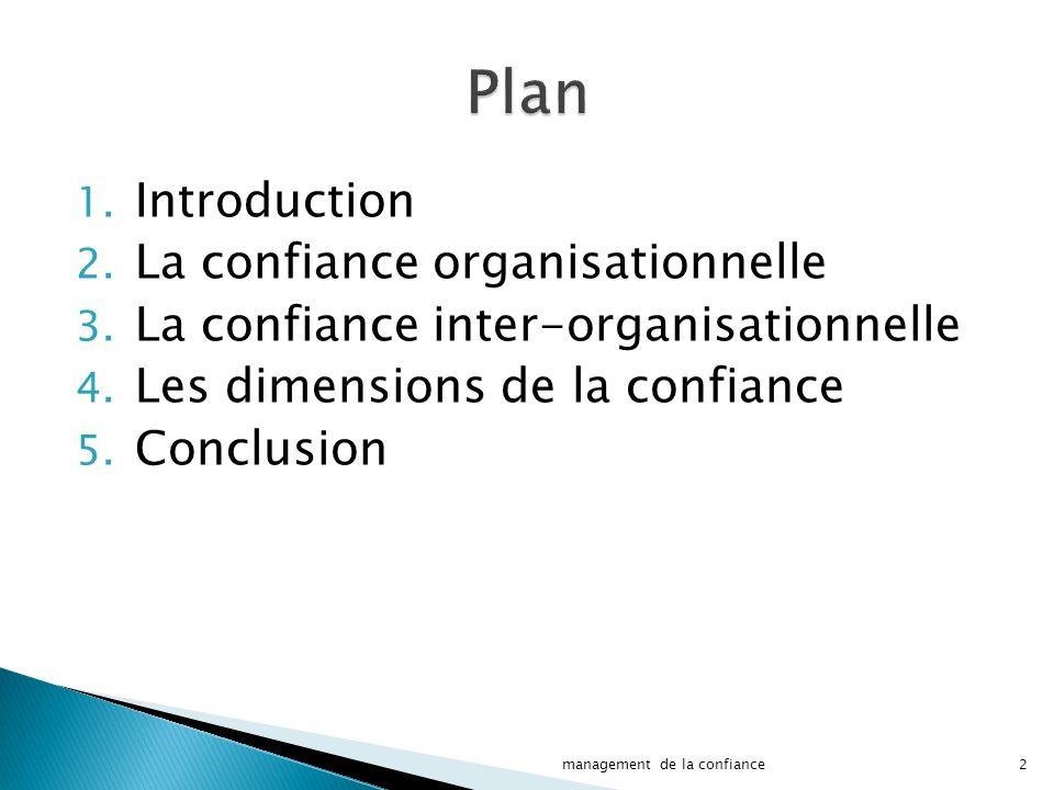 1.Introduction 2. La confiance organisationnelle 3.