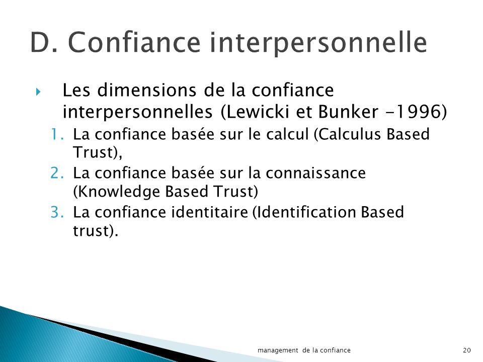 D. Confiance interpersonnelle Les dimensions de la confiance interpersonnelles (Lewicki et Bunker -1996) 1.La confiance basée sur le calcul (Calculus