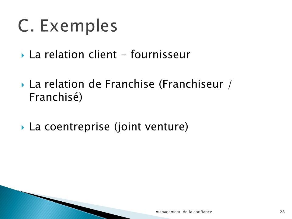 La relation client - fournisseur La relation de Franchise (Franchiseur / Franchisé) La coentreprise (joint venture) 28management de la confiance