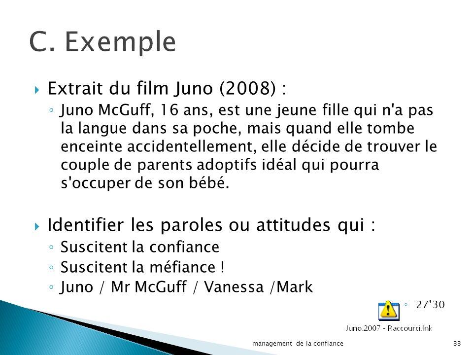 C. Exemple Extrait du film Juno (2008) : Juno McGuff, 16 ans, est une jeune fille qui n'a pas la langue dans sa poche, mais quand elle tombe enceinte
