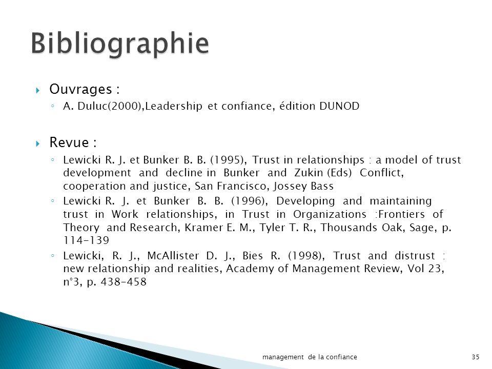 Ouvrages : A.Duluc(2000),Leadership et confiance, édition DUNOD Revue : Lewicki R.