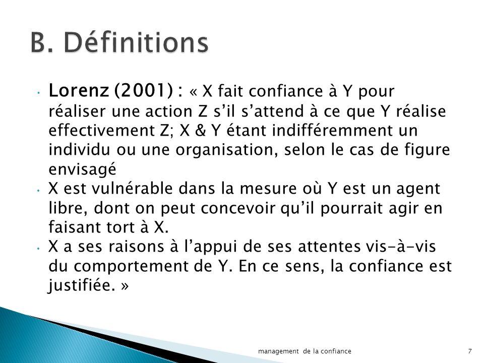 Lorenz (2001) : « X fait confiance à Y pour réaliser une action Z sil sattend à ce que Y réalise effectivement Z; X & Y étant indifféremment un individu ou une organisation, selon le cas de figure envisagé X est vulnérable dans la mesure où Y est un agent libre, dont on peut concevoir quil pourrait agir en faisant tort à X.