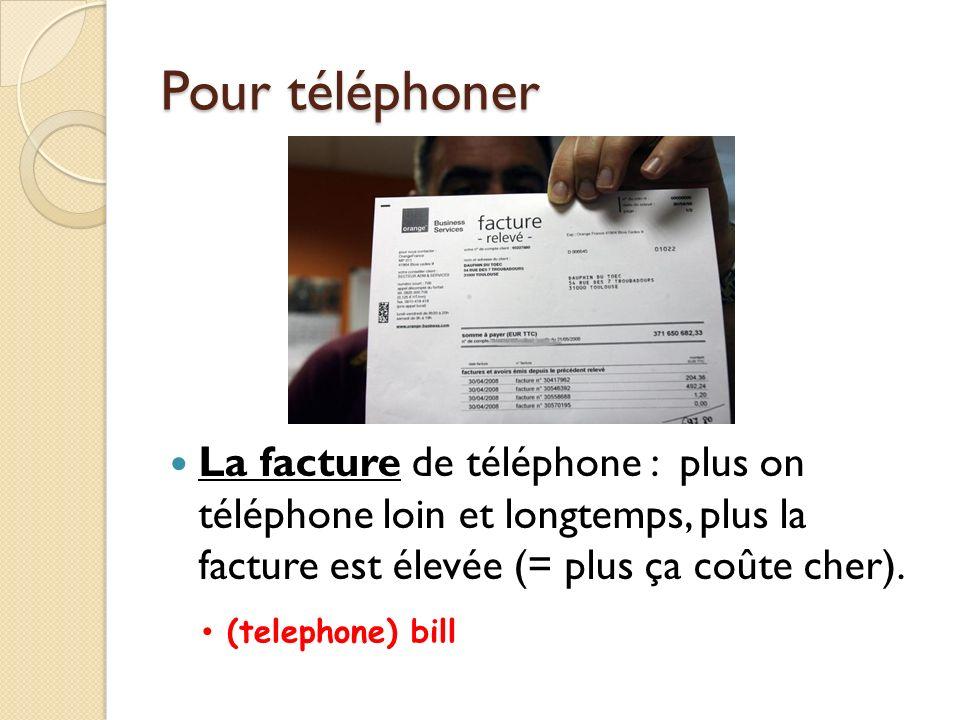 Pour téléphoner Pour communiquer vite et par écrit: le fax = la télécopie (Quel est votre numéro de fax ) envoyer un fax = faxer (un document, une lettre) recevoir un fax le courriel = le courrier électronique to send a fax to receive a fax email