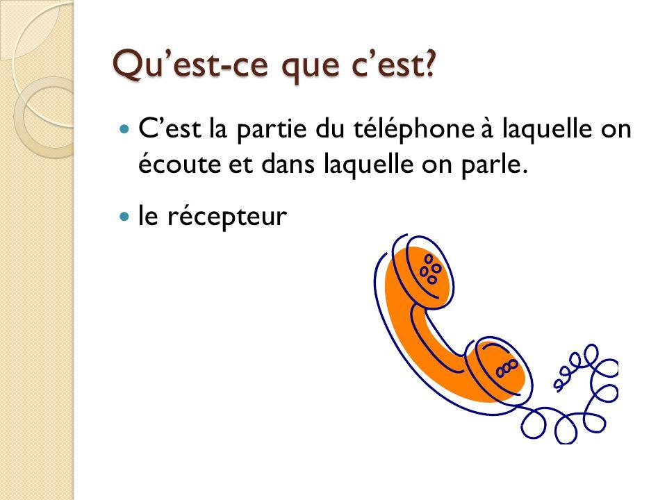 Cest la partie du téléphone à laquelle on écoute et dans laquelle on parle. le récepteur