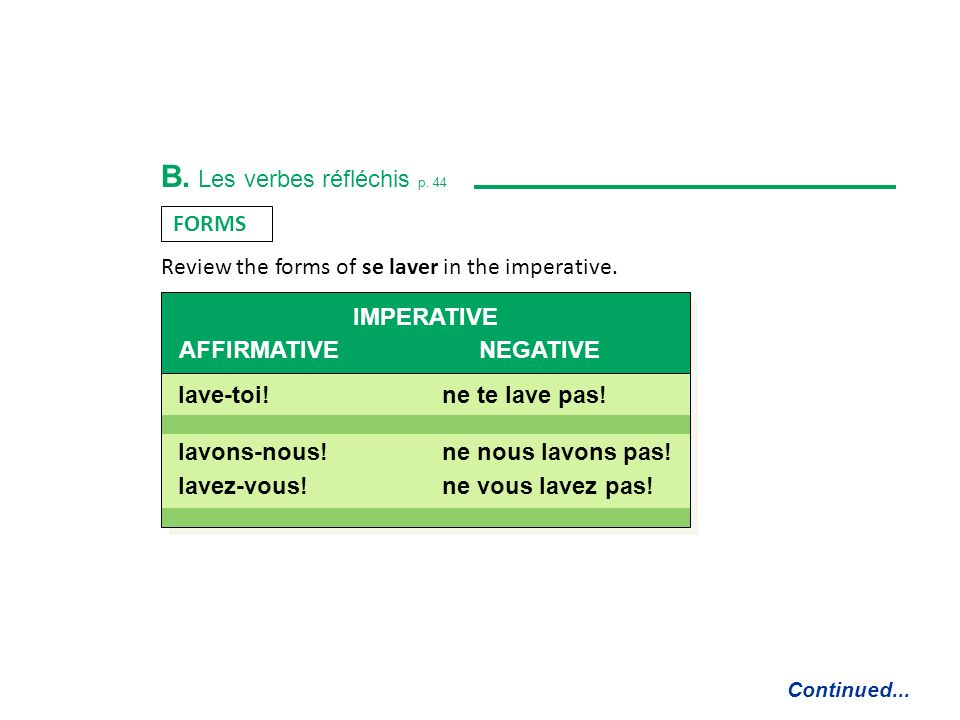 B. Les verbes réfléchis p. 44 REFLEXIVE VERBS are formed with a REFLEXIVE PRONOUN that represents the same person as the subject. Continued... Je me l