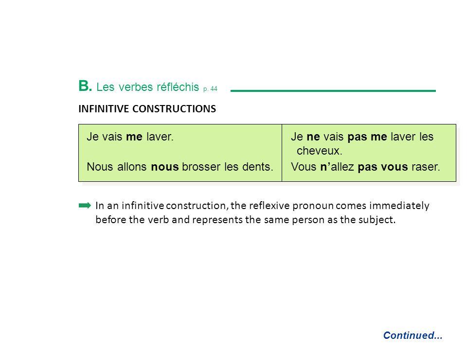 B. Les verbes réfléchis p. 44 FORMS Continued...