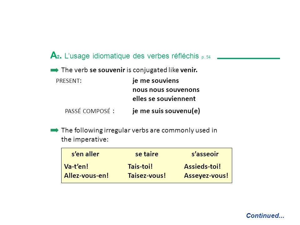 A 2. Lusage idiomatique des verbes réfléchis p. 54 Reflexive verbs are used: to describe certain MOVEMENTS se rendre à to go to Mme Meunier se rend à