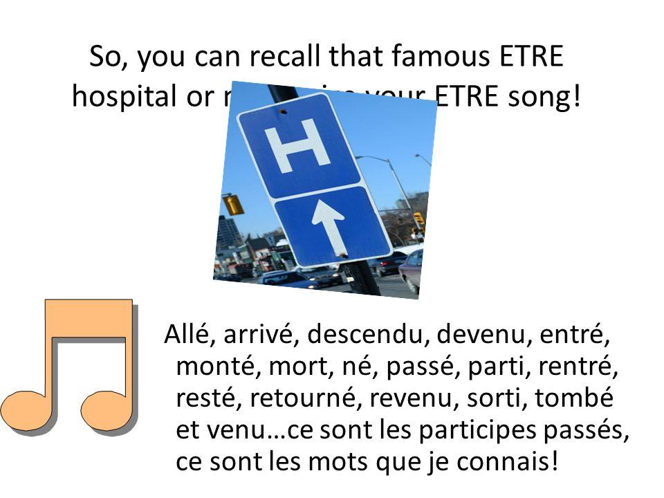 List of Etre verbs Devenir (to become) devenu(e)(s) Retourner(to return) retourné(e)(s) Monter(to go up) monté(e)(s) Rentrer(to return) rentré(e)(s) Sortir (to go out) sorti(e)(s) Venir (to come)venu(e)(s) Arriver(to arrive)arrivé(e)(s) Naître(to be born)né(e)(s) Descendre(to get off/go down) descendu(e)(s) Entrer(to enter)entré(e)(s) Rester(to stay)resté(e)(s) Tomber(to fall)tombé(e)(s) Revenir (to come back) revenu(e)(s) Aller(to go)allé(e)(s) Mourir(to die)mort(e)(s) Partir (to leave)parti(e)(s) Passer (to pass by) passé(e)(s)