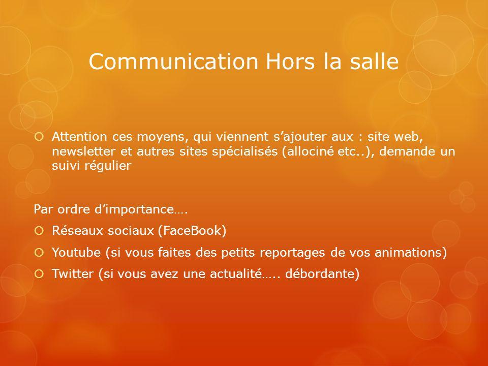 Communication Hors la salle Attention ces moyens, qui viennent sajouter aux : site web, newsletter et autres sites spécialisés (allociné etc..), deman