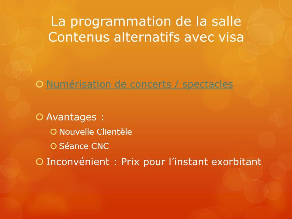 La programmation de la salle Contenus alternatifs avec visa Numérisation de concerts / spectacles Avantages : Nouvelle Clientèle Séance CNC Inconvénie