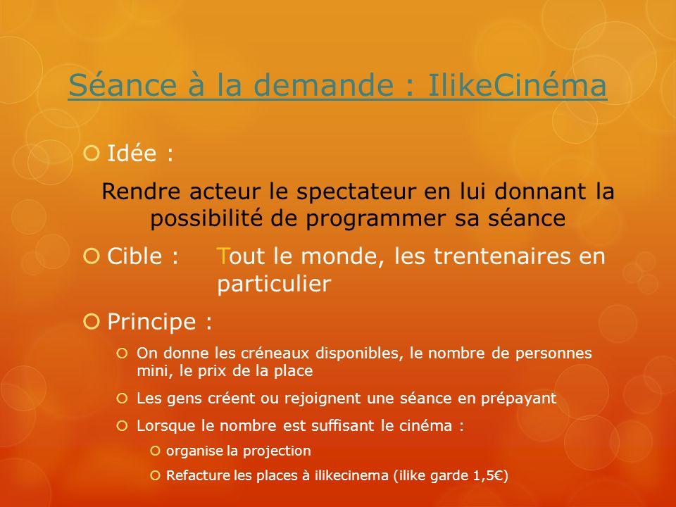 Séance à la demande : IlikeCinéma Idée : Rendre acteur le spectateur en lui donnant la possibilité de programmer sa séance Cible : Tout le monde, les