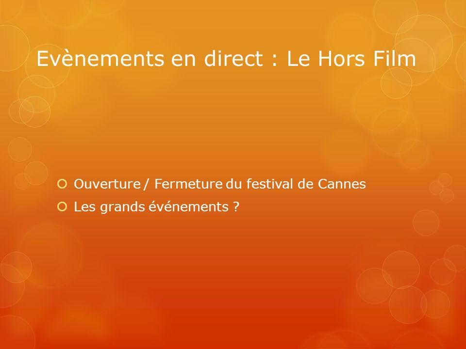 Evènements en direct : Le Hors Film Ouverture / Fermeture du festival de Cannes Les grands événements ?