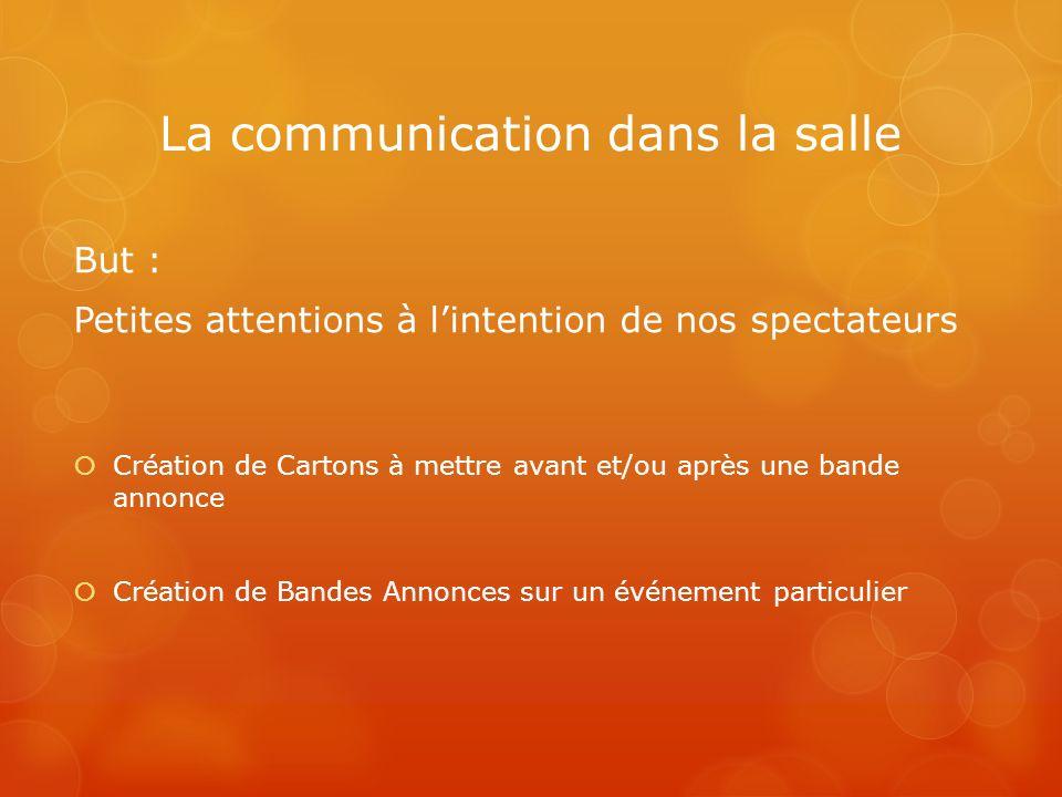 La communication dans la salle But : Petites attentions à lintention de nos spectateurs Création de Cartons à mettre avant et/ou après une bande annon