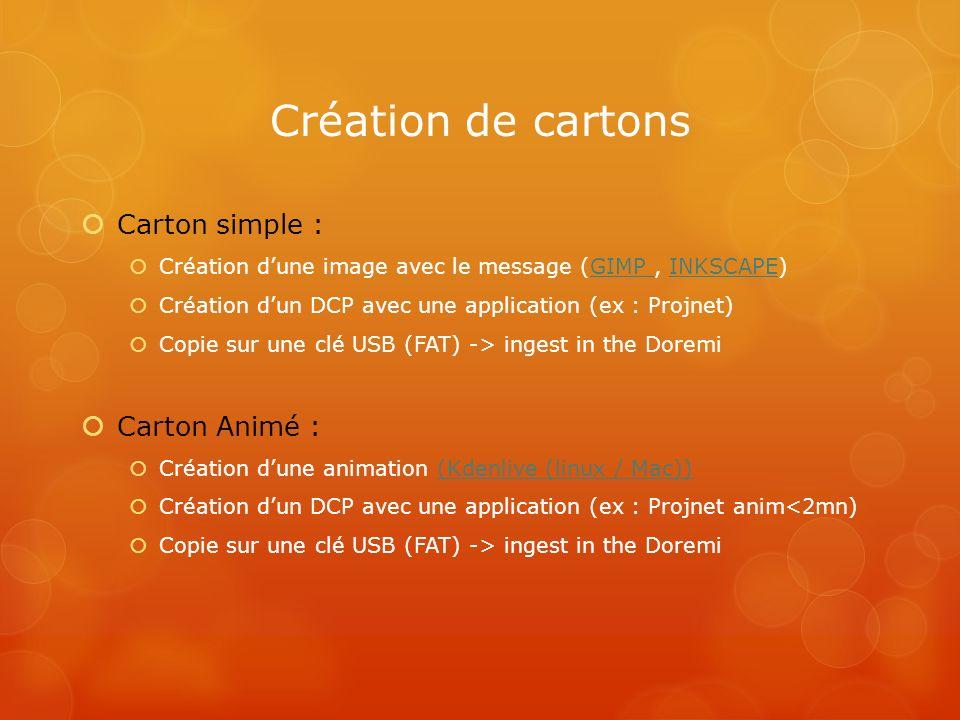Création de cartons Carton simple : Création dune image avec le message (GIMP, INKSCAPE)GIMP INKSCAPE Création dun DCP avec une application (ex : Proj