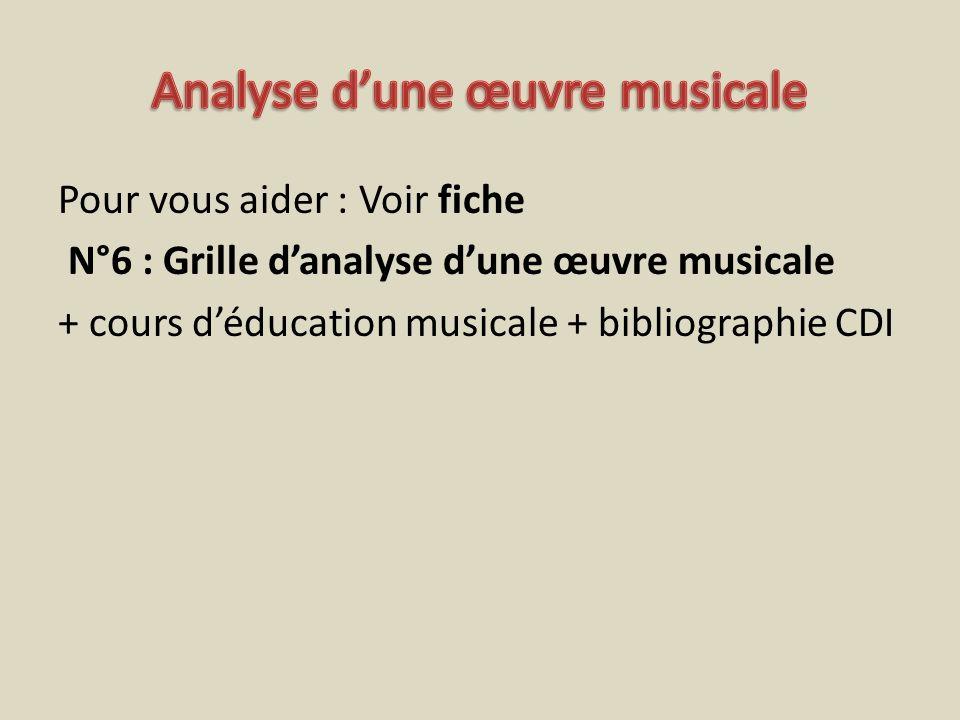 Pour vous aider : Voir fiche N°6 : Grille danalyse dune œuvre musicale + cours déducation musicale + bibliographie CDI
