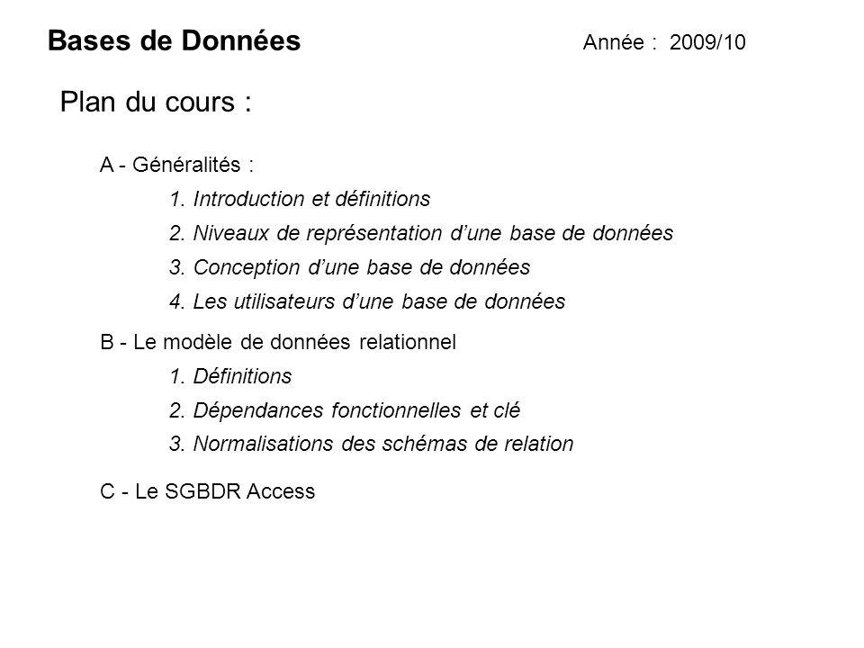 Bases de Données Année : 2009/10 Plan du cours : 1. Introduction et définitions A - Généralités : B - Le modèle de données relationnel C - Le SGBDR Ac