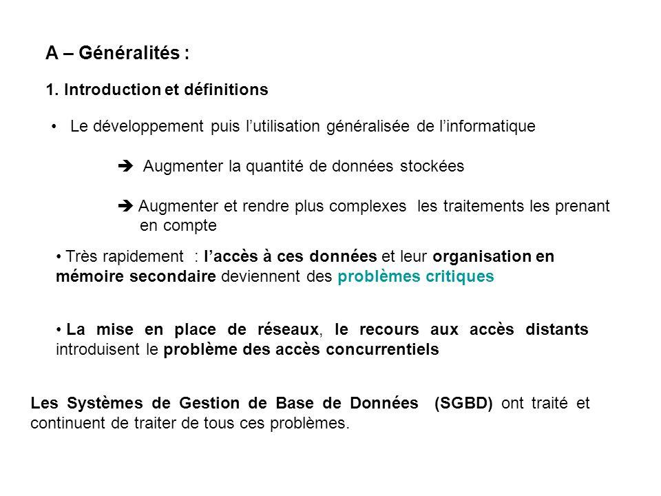 A – Généralités : 1. Introduction et définitions La mise en place de réseaux, le recours aux accès distants introduisent le problème des accès concurr
