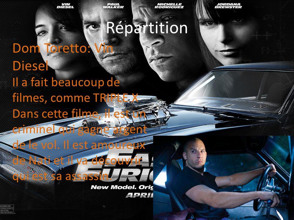 Répartition Dom Toretto: Vin Diesel Il a fait beaucoup de filmes, comme TRIPLE X Dans cette filme, il est un criminel qui gagne argent de le vol. Il e