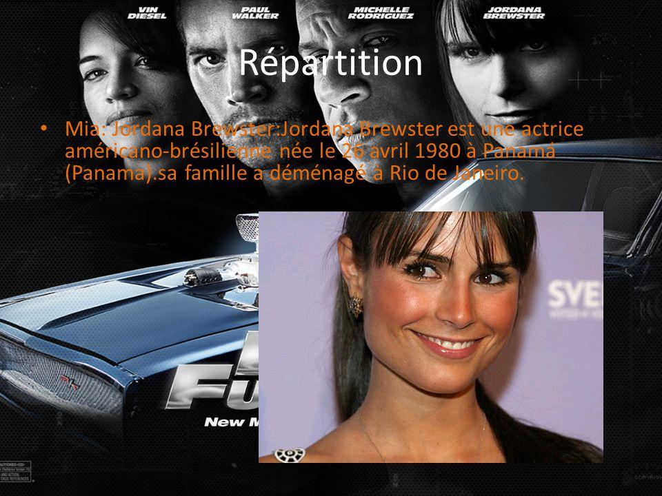 Répartition Mia: Jordana Brewster:Jordana Brewster est une actrice américano-brésilienne née le 26 avril 1980 à Panamá (Panama).sa famille a déménagé