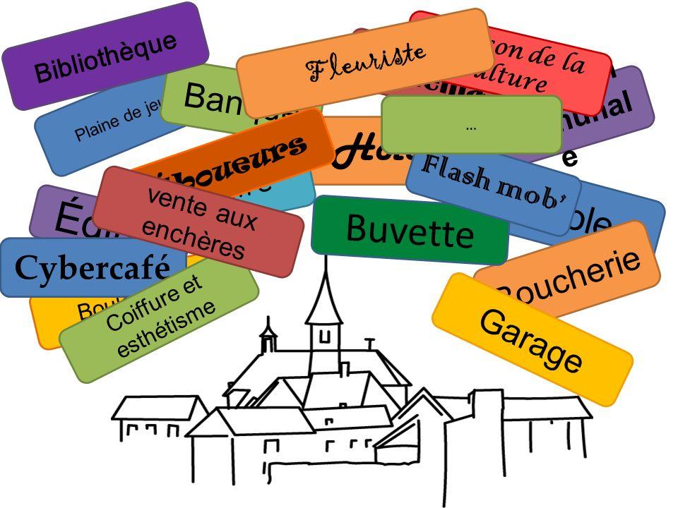 Plaine de jeux Cinéma la maison communal e Banque Hôtel théâtre École Église Boucherie Boulangerie Buvette Garage Maison de la culture Bibliothèque Cy