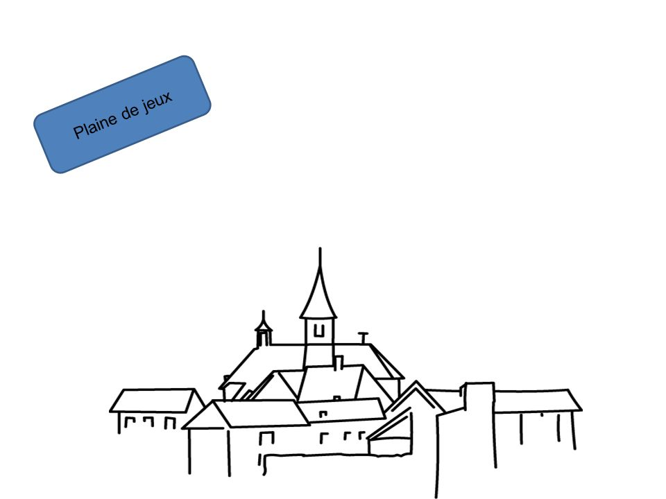 Plaine de jeux Marc devient le bourgmestre Lentrée = (chacun reçoit un passeport) (entretient vélos) Plaine de jeux (jeux habituels en bois, baby-foot, château gonflable) Maison de la culture (expo peinture/sculpture) Banque (carte-bouffe, carte-activités) Hôtel de ville (entrée = carte de séjour) Théâtre (spectacles, scène ouverte) Cinéma (film éventuel le soir) Bibliothèque (espace détente, lecture de contes et kamishibaï…) Cybercafé (actu de la journée projetée sur grand écran, mise en avant du site web) Asbl environnement, cabine téléphonique, photographe, asbl sentiments (défouloir sur un grand panneau, libre expression, cabine insonorisée, etc.), Police Éboueurs (si lenfant ramène X déchets il gagne une place pour un jeu) Hôpital (docteur fou, malade imaginaire) Hôtel (petite sieste) Journalistes (alimentation du site web, du dazibao, interviews pour le TU ou journal spécial) Coiffure et esthétisme (cheveux et maquillage) Fleuriste (fleurs en papier) Cabaret Flash mob vente aux enchères de talents, de services voir dobjets.