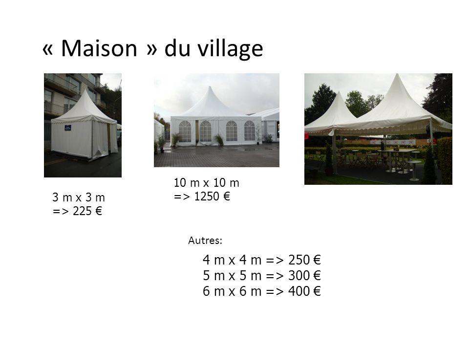 « Maison » du village 3 m x 3 m => 225 10 m x 10 m => 1250 Autres: 4 m x 4 m => 250 5 m x 5 m => 300 6 m x 6 m => 400