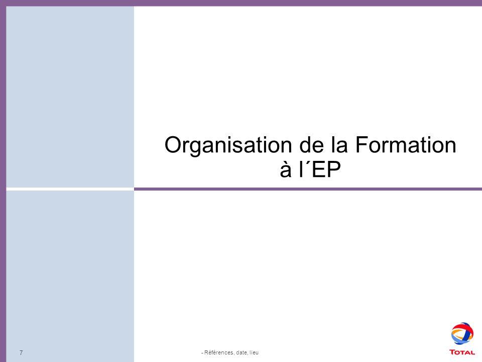 8 Organisation de la Formation à l´EP: Réseau Formation Compétences métiers EP Formation Groupe (Compétences transversales: management, dév.