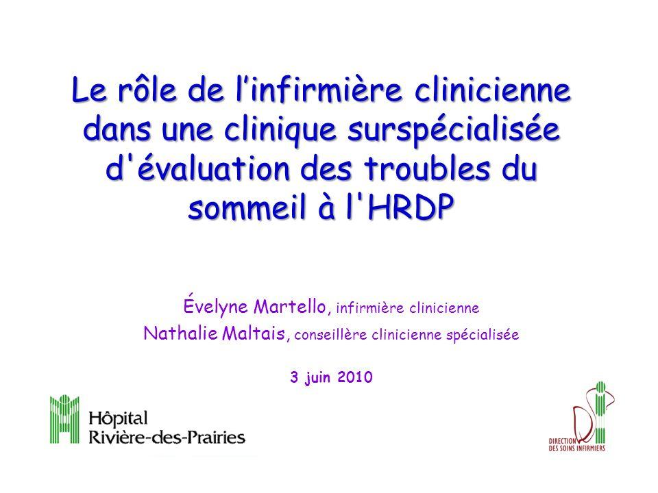 Le rôle de linfirmière clinicienne dans une clinique surspécialisée d évaluation des troubles du sommeil à l HRDP Évelyne Martello, infirmière clinicienne Nathalie Maltais, conseillère clinicienne spécialisée 3 juin 2010