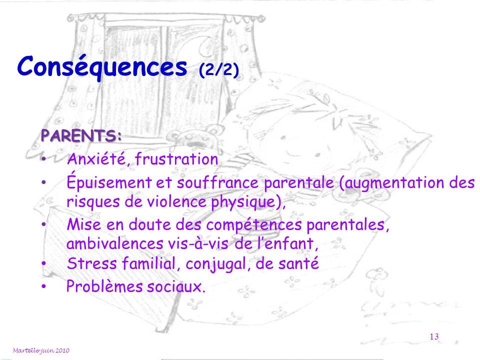 Martello juin 2010 13 Conséquences (2/2) PARENTS: Anxiété, frustration Épuisement et souffrance parentale (augmentation des risques de violence physiq