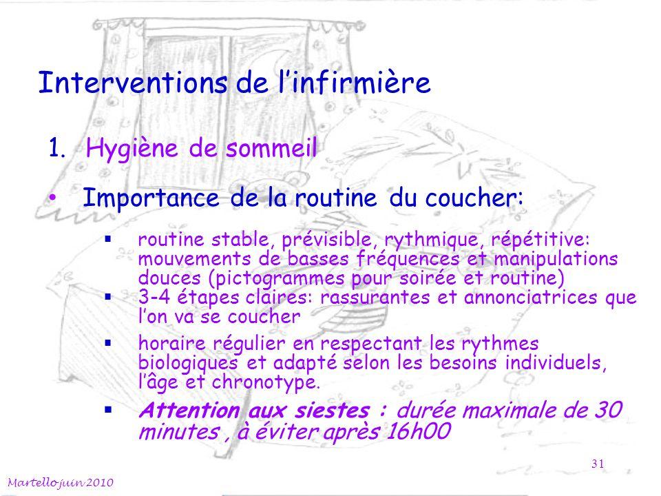 Interventions de linfirmière Martello juin 2010 31 1.Hygiène de sommeil Importance de la routine du coucher: routine stable, prévisible, rythmique, ré
