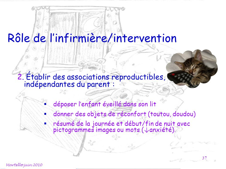 Rôle de linfirmière/intervention 2. Établir des associations reproductibles, indépendantes du parent : déposer lenfant éveillé dans son lit donner des