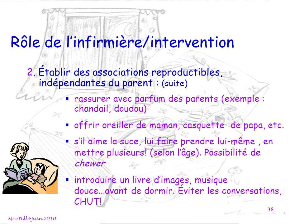 Rôle de linfirmière/intervention Martello juin 2010 38 2. Établir des associations reproductibles, indépendantes du parent : (suite) rassurer avec par