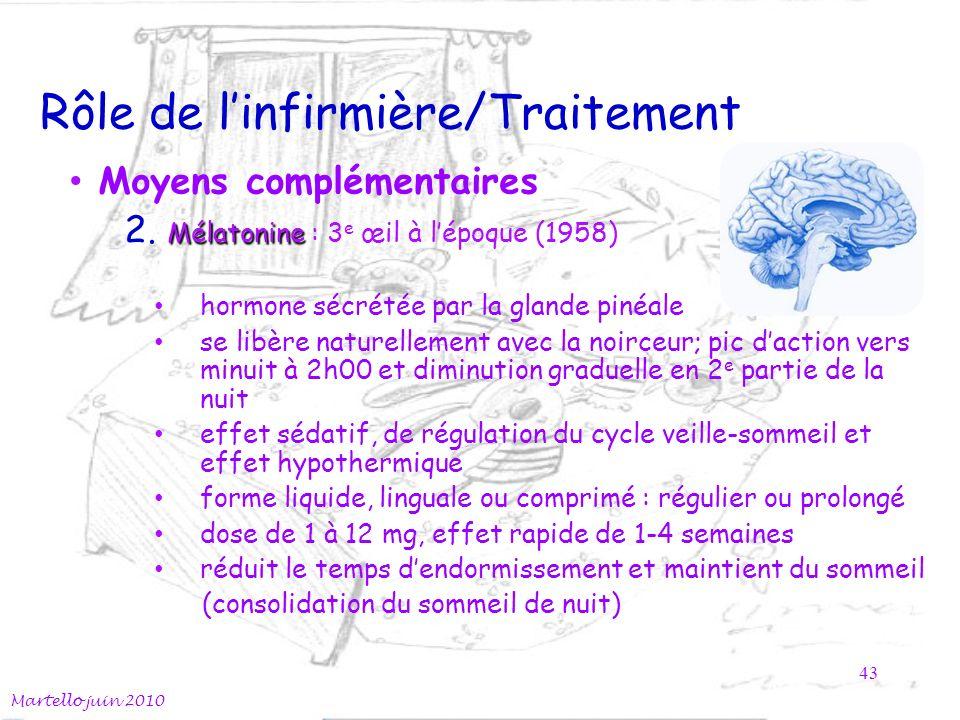 Rôle de linfirmière/Traitement Moyens complémentaires Mélatonine 2.